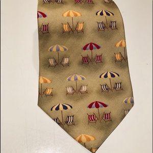 Vintage Tommy Bahama Men's silk tie beach print